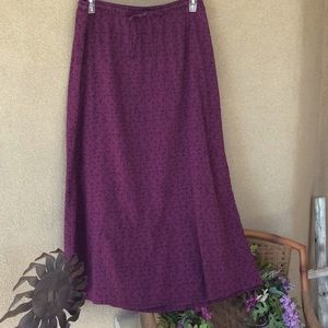 Eddie Bauer L gathered waist w tie skirt